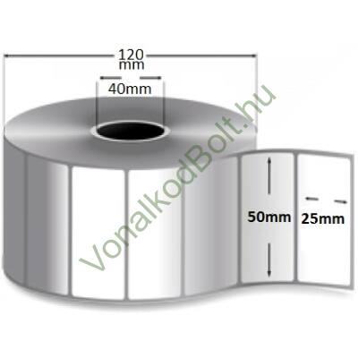 50mm széles 25mm magas öntapadós fehér címke